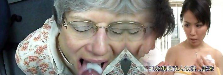 grannie guzzles cum like a good slut