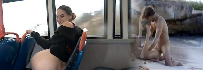 Amateur dark haired chick shows her donk and urinates in the public bus