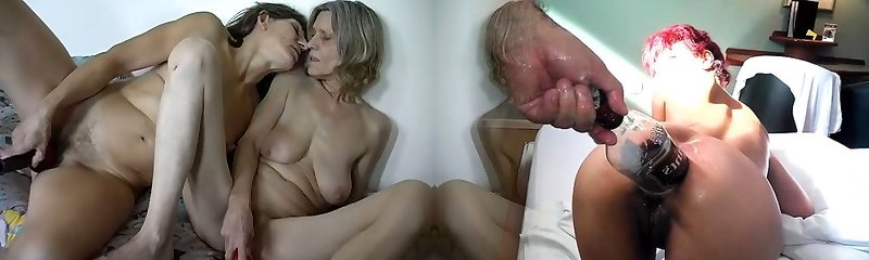 Filthy lesbian scene with two ugly saggy tittied ugly grannies