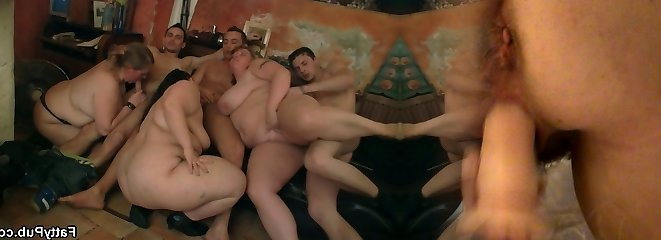 Group BBW orgy at the club