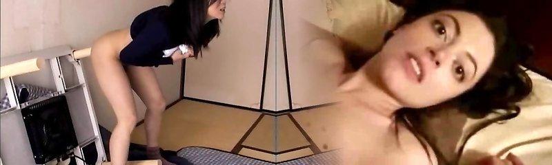 Crazy wife Haruka Okoshi fucking herself with dildo