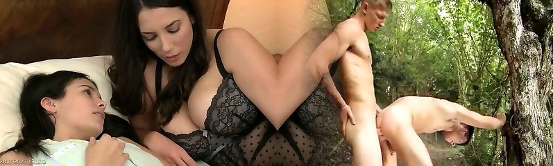 Libidinous dark-haired Violet Starr is making love with her gf