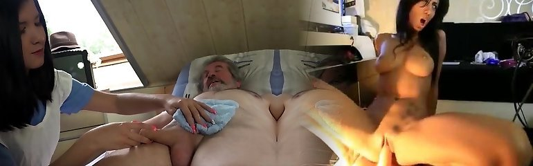 Teen nurse Lady Dee fuck treatment for sick elder patient