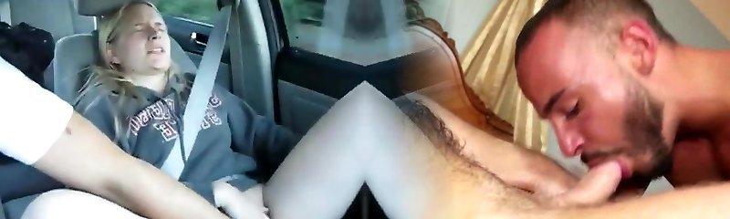 Blonde MILF fingered in SUV