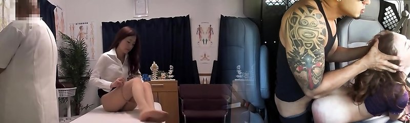 Wonderful girl gets a rubdown right in the medical center