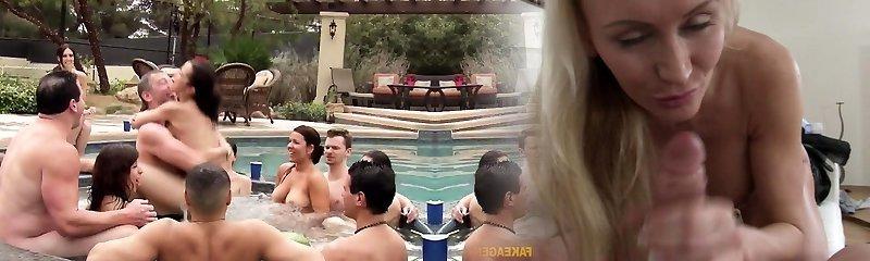 Latina woman at reality swinger pool party