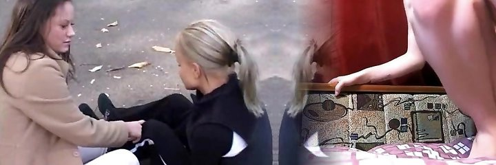 Beautiful platinum-blonde and dark black haired lesbians