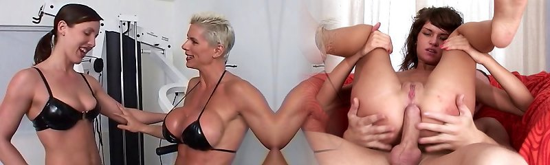 Beefy dyke penetrates submissive chick with strap on during work out