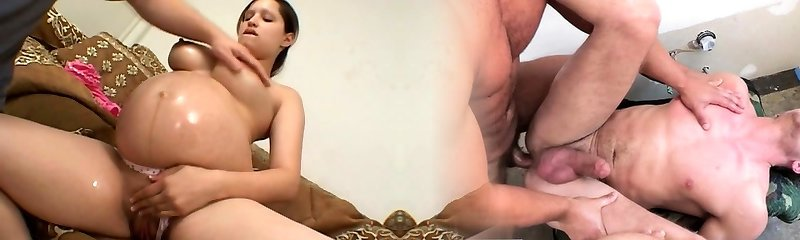 tasty looking knocked up nymph Megann gets her body fondled