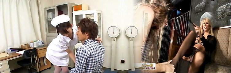Nasty Japanese nurse Riko Tachibana treats her patient with blowage