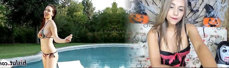 Sexy brown-haired Jelena drains by the pool