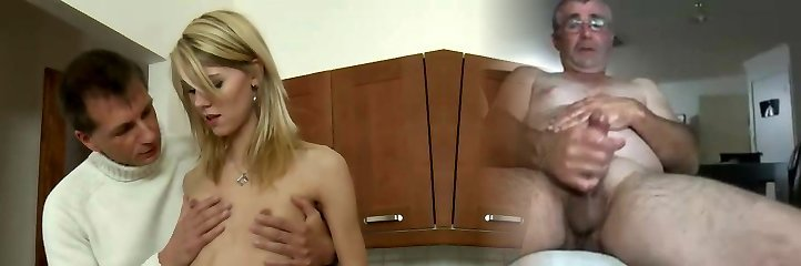 Bony blonde girl fucks her teacher in the kitchen