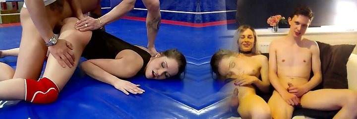 Sport chick Ashley is pounded right in the ring after good dt