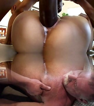 Asian cowgirl with small tits gets her creampied gash nailed by ebony dude
