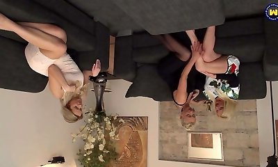 Beautiful lesbo threesome with moms and daughter