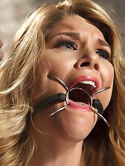 Hot slutty blonde Carissa Montgomery gets her big tits tied by Sgt. Major.  Carissa is gagged and put on a brutal crotch rope before being vibed into relentless orgasms.  Next Sarge has this whore tied to a post with her nipples clamped and fucked silly with a dick on a stick.  Finally Carissa is put into an extreme, stressful hogtie on the floor, beat with a riding crop, fucked mercilessly and, made to cum, before being left a whimpering mess in a puddle of her own drool.