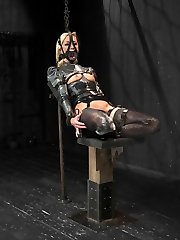 Splendid light-haired Maia gets to learn what her thresholds are with Jerk at the helm. Each posture tests her and makes her realize that Contraption is no joke. In scene one, she is encased in latex legs Indian style, strapped to a reclining board. Her anxiety is ramped up with the corset on. She feels like she is being smothered. Every sensation is heightened as its laced with dread. Wank drenches it up and revels in her discomfort. Vignette 2, she is summoned with an unforgiving forward bend in metal. Fap goes after her calves with the lash. She caves. He smiles. In the final position she gets to learn how brutish leather cords can be. She is attached to the violet magic wand via the grounding pad. Every time Masturbate kneads her its electrifying. The princess melts with elation at his touch and earns orgasms worthy of her bearing.