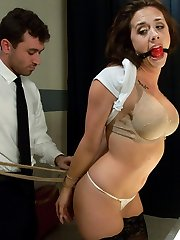 Glorious Chanel Preston is stopped at an airport security line when they notice something suspicious in her bag.  To avoid embarrassment in public from what they will find, she opts for a private screening.  When hook-up toys are found, security officer James Deen takes advantage of her in a locked bedroom.  Witness Chanel Preston get abjected, trussed up, predominated and fucked in the butt!