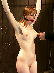 Welcome Marie McCray to Device Bondage. This tiny red-haired looks so delicious, so innocent... we are going to hell.  One of the hardest positions in all of restrain bondage is the wrist suspension. It is a category 5 suspension, the toughest of all suspensions. Only the harshest can endure it even for seconds. But before we suspend her all the way off the ground, let's make this little gal cum, let's make her jizz hard. Let's make her cum even when she is attempting not to. Let's make her stand on perky blocks. Then let's rip a zipper off her nubile bod and listen to her scream. Then let's strung up her. After all that does she have anything left?