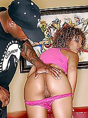 Curly black beaver gets fucked hard in cow girl style