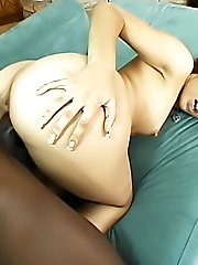 Light skinned ebony nymph gets opened up wide for a good-sized cock