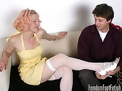 Rosy walks in on her boyfriend while he is sniffing her stockings. She lets him kiss and lick...