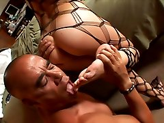 Bald dude worships blondies perfect ass, bare feet and toes then jizzes on her ass cheeks