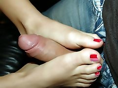 Belicia gives her man a sinful foot job and later gets her pussy drilled with a cumbot