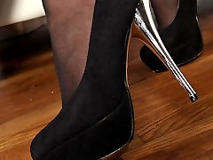 Footjob With Stockinged Feet