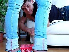 Sexy blondie lets a guy taste her high heels before giving nylon footjob