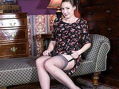 Sophia looking red hot in her RHT nylons, garters and sheer panties!