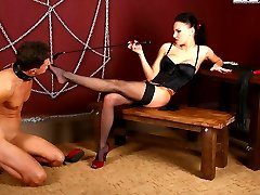 Two bossy bitches trample boys cock without taking off their spike-heeled shoes and make him...
