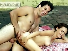 Naughty Latina Leslie joins a studly guy outside and gets her thick bushed pussy rammed with a...