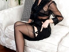 Sophistocated continental blonde in exciting cut away girdle and vintage french black full...