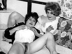 Kinky 1960s girls get spanked in lingerie!