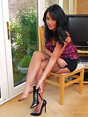 Once again, Michelle, your lovely dream girl makes it go hard in her very high heels worn with...