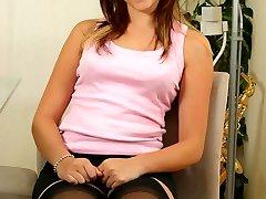 Rebecca the sexy secretary in stockings