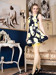 Alice is vibrant in unusual 60s yellow RHT nylons, appropriate lingerie and a quite retro fluffy...
