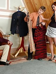 Hot gal in control top tights seducing salesman into MMF orgy with her hub