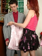 Sissified guy in shiny pantyhose giving intimate muff massage through nylon