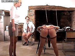 Stocking clad girl spreads her legs and ass cheeks for a searing caning - deep stripes