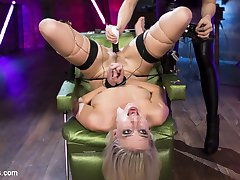 Latex dominatrix Chanel Preston introduces hot blonde, Cadence Lux, to the world of lesbian...
