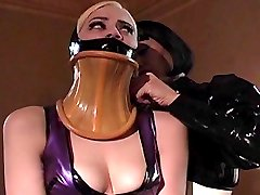 Jean Bardot uses bondage and neck restrain on her latex maid