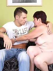 Hefty mature Simone seduces a young stud by showing off her sagged ass and gets her pussy screwed
