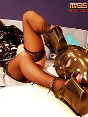 Russian mistress in latex submits her slave
