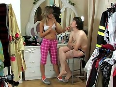 Kinky chick makes her sissy guy wear uniforms eager to ram his tights ass
