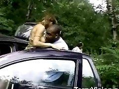 Outrageous interracial fuck scene outside