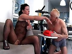 Slave drinking pee from bowl