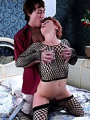 Courageous mommy with bright red hair and vanilla ass gets a proper anal workout