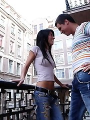 Petite brunette Kaylie in an anal fucking action